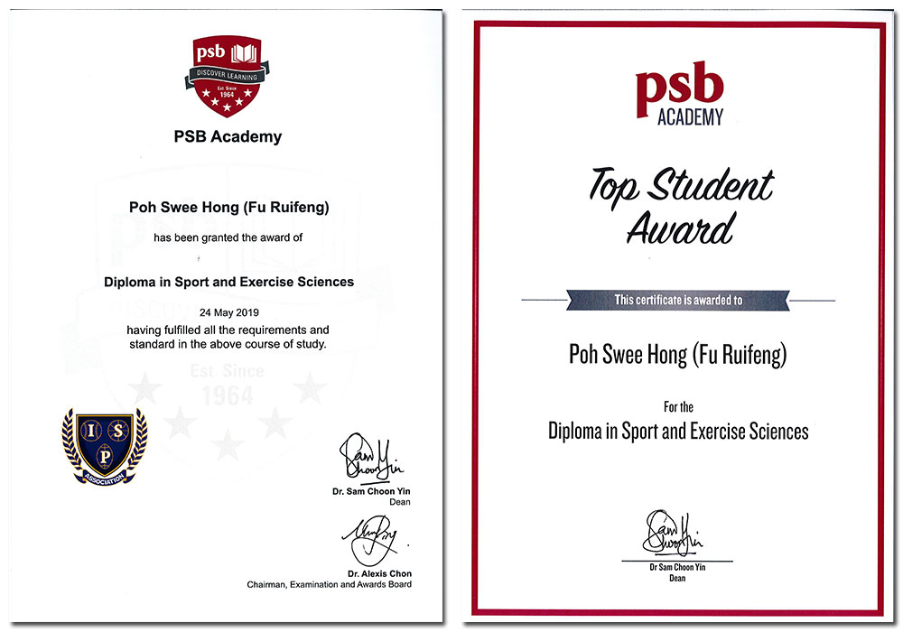 My Certificates from my Diploma in Sport and Exercise Sciences