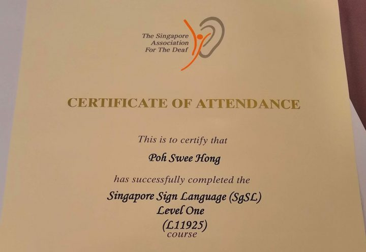 Completing Singapore Sign Language (SgSL) Level 1