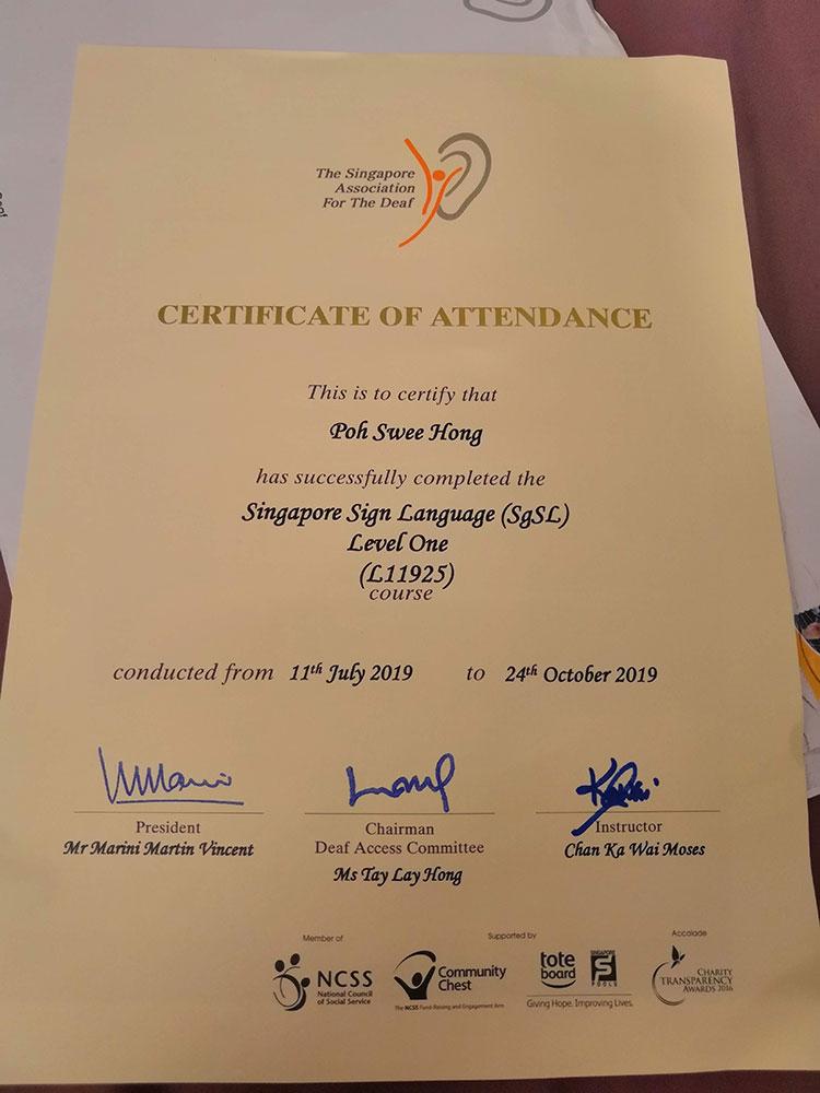 Singapore Sign Language (SgSL) Level One Certificate