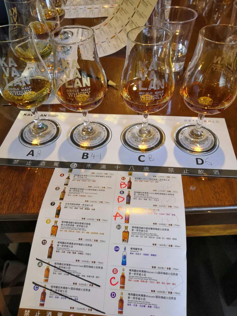 Each person picks 4 Kavalan whiskeys to taste.